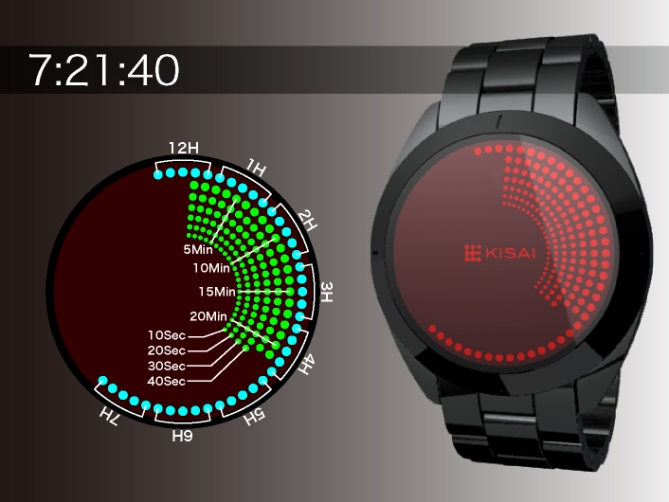 Touch Screen Dual LCD/LED Dot Matrix Watch Design Time Display