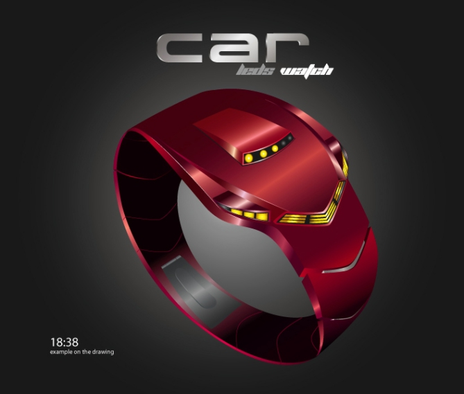 """C"" Car Styled LED Watch Design_Red"