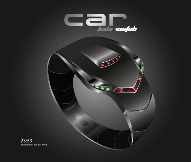 """C""_Car_Styled_LED_Watch_Design_Black"