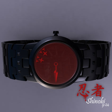 shinobi_an_analog_watch_design_made_of_ninja_tools_side_view