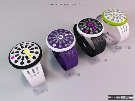 time_flower_led_watch_design_color_variation