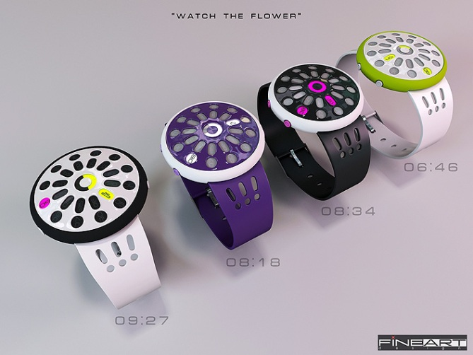 time_flower_led_watch_design_color_variation