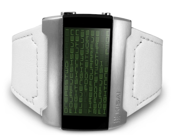 kisai_kaidoku_colored_lcd_watch_design_with_leather_strap_green_white