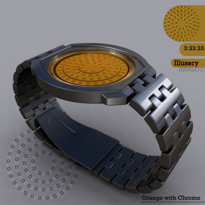 Illusory_watch_design_orange_chrome_side_view