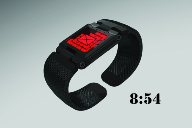 hinged_analog_led_watch_design_black_red