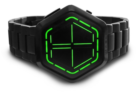 kisai_night_vision_black_usb_rechargeable_led_watch_design_from_tokyoflash_japan_green_led