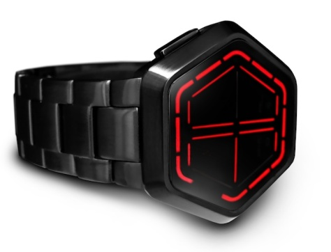 kisai_night_vision_black_usb_rechargeable_led_watch_design_from_tokyoflash_japan_red_led