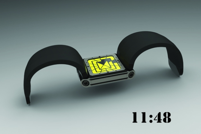 hinged_analog_led_watch_design_black_yellow