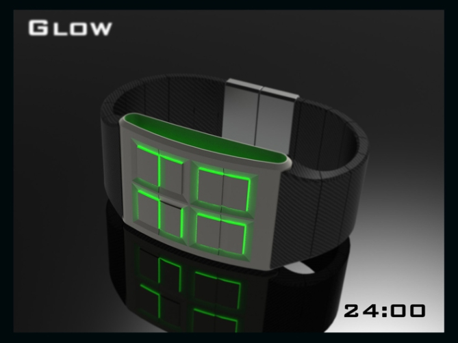 led_watch_design_glows_the_time_green_black