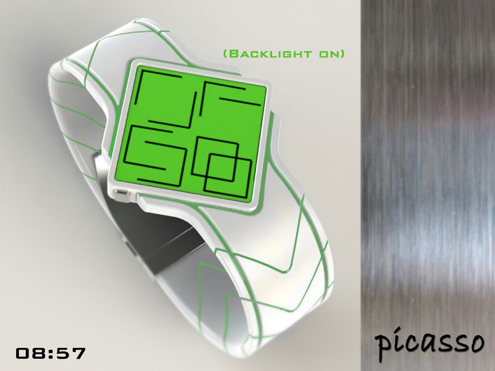 Picasso watch shows time using Cubism.