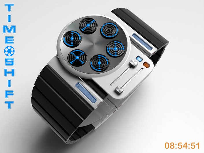 Time Shift LED watch with beam-me-up display.