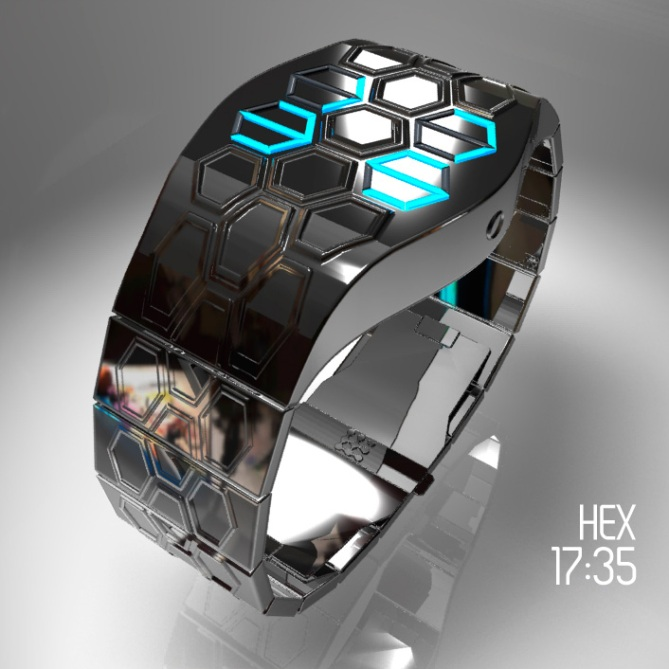 futuristic hex led watch design tokyoflash japan