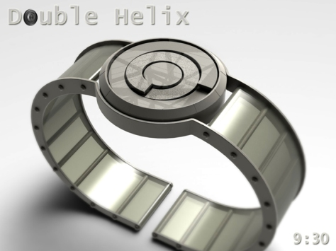 spring_washer_inspired_double_helix_watch_silver_strap