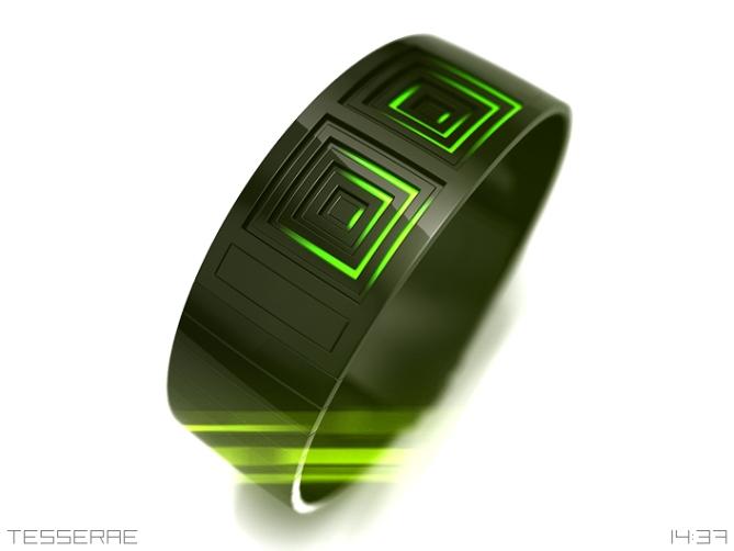 tesserae_digital_time_split_green_leds